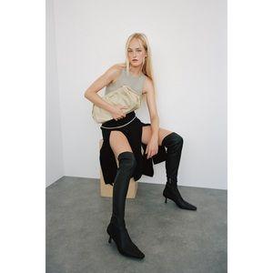 NWT Zara Thin Heel Extra Tall Leather Boots